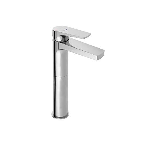 Grifo monomando para lavabo, con apertura en frio y caño alto, de la colección Lora, 31,5 x 16,7 x 5 centímetros, acabado metálico (referencia: 3997100)