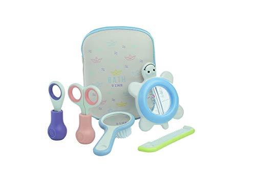 Bébé confort Trousse de Toilette Inclut Thermomètre + Ciseaux + Coupe-Ongles + Peigne + Brosse pour Bébé Paper Boat, Multicolore