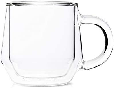 Double Walled Glass Coffee Mugs by Hearth I 2 8oz Clear Insulated Coffee Mugs With Handles I product image