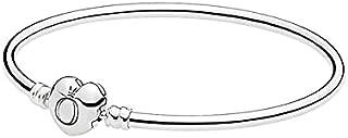 Pandora Women's Silver Bangle with Heart-Shaped Clasp - 596268-19