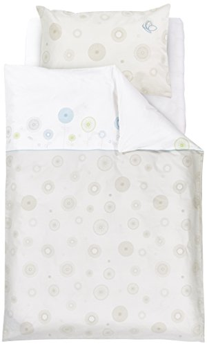 Träumeland TT14603 Parure de lit bébé motifs floraux, 80 x 80 cm + 35 x 40 cm, bleu
