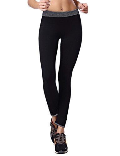 Qutool Damen Sport Hose Yoga Leggings Strumpfhosen Workout Hose Running Hose Größe L schwarz