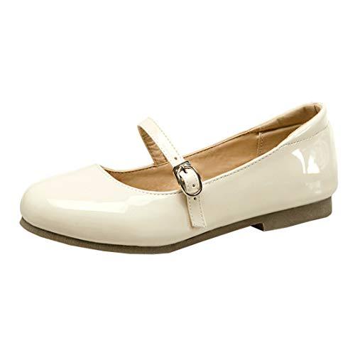 MISSUIT Damen Mary Jane Flach Lack Riemchen Pumps Flacher Absatz Geschlossen Schuhe(Beige,37)