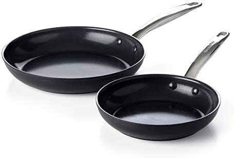 GreenPan Prime Midnight Healthy Ceramic Nonstick Frying Pan Set 8 and 10 Black product image