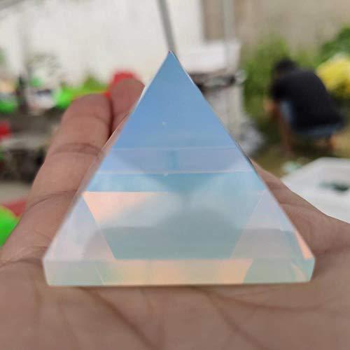 HONGHUA Decoración De Varita De Meditación De Punto De Energía De Cristal De Pirámide De Piedra De Ópalo Blanco Natural De 4 Cm