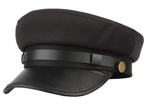 Brcus Men Women Yacht Captain Sailor Hat Newsboy Cabbie Baker Boy Peaked Beret Cap Black