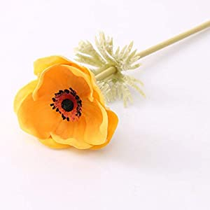 SELCRAFT 1pcs Real Touch Artificial Anemone Flowers Rose Bride Wedding Holding Hand Flower Home Living Room Decor Photo Props Fake Flower – Orange