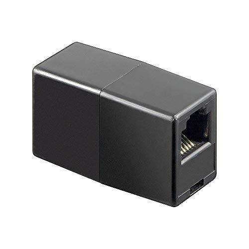 Wentronic Telefon Adapter (RJ12-Kupplung, RJ12 Buchse auf RJ12 Buchse) schwarz
