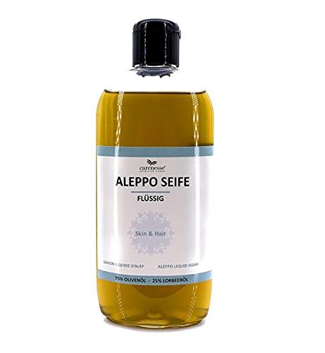 Savon d'Alep liquide 500 ml avec distributeur, 75% huile d'olive + 25% huile de laurier, Gel Douche shampooing Savon liquide, Cosmétique naturel, Produit Naturel sans parfum, végétalien