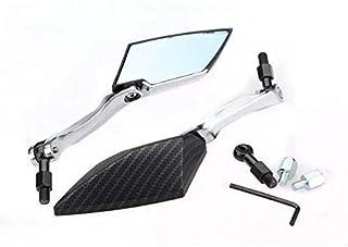 Terisass 2 pezzi Specchietto retrovisore universale tondo retrovisore modificato Specchio riflettente per moto Accessorio per moto Specchio laterale Colore nero