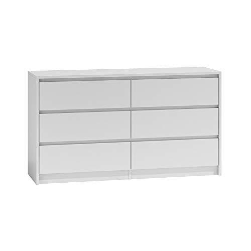 ADGO Karo K140 Cómoda con 6 cajones 138x75x40cm, armario clásico con estantes para dormitorio, pasillo, salón, habitación de los niños, de pie profundo, ahorra espacio (envío en 2 paquetes) blan