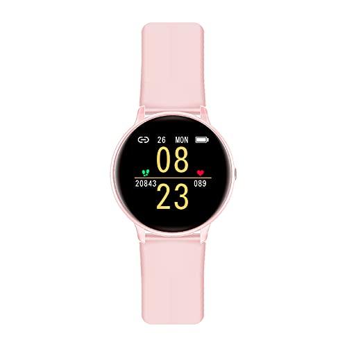 IOWODO Smartwatch Donna Impermeabil IP68 Cardiofrequenzimetro Sonno Orologio Fitness Tracker Contapassi Cronometro Smart Watch Notifiche Messaggi Controller Musicale per IOS Andriod