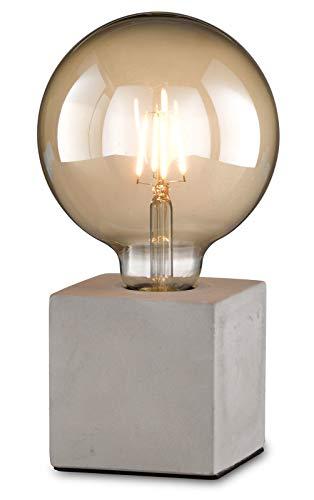 loxomo - lámpara de mesa de cubo de hormigón, 9 x 9 x 9 cm, lámpara de mesa de hormigón con casquillo E27, hasta máx. 60W, Edison retro, IP20, Gris Hormigón