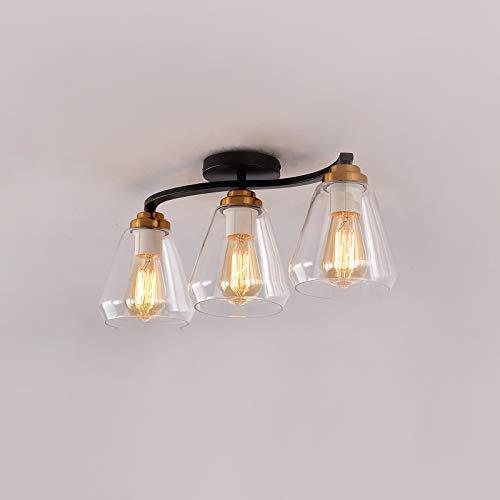 Lámpara de techo E27*3 Luz de Plafón Moderno Minimalista Iluminación de techo Negro Pantalla de cristal por Dormitorio Habitación de hotel Estudiar Restaurante Cocina Balcón Max 40 Vatio L52*H22CM