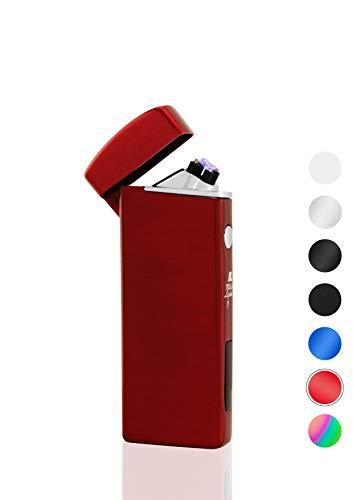 TESLA Lighter T14 Rot Lichtbogen Feuerzeug USB Aufladbar Elektro Sturmfest Plasma Doppel-Lichtbogen mit Akku