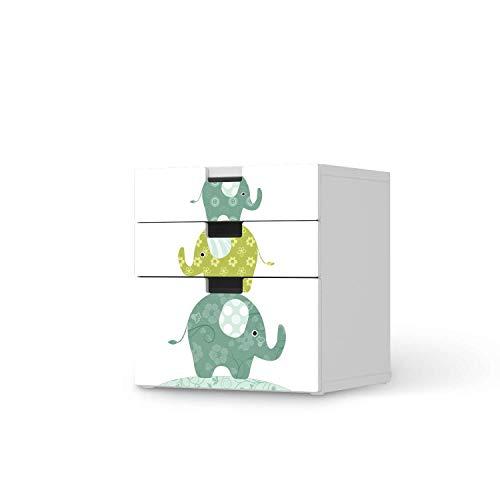 creatisto Möbelfolie für Kinder - passend für IKEA Stuva Kommode - 3 Schubladen (Kombination 1) I Tolle Möbelsticker für Kinderzimmer Einrichtung I Design: Elephants
