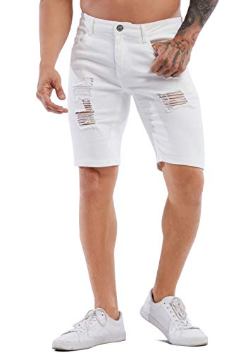 ZLZ Ripped Distressed Short Jeans for Men, Men's Stretch Slim Denim Shorts with Holes (White, 34)