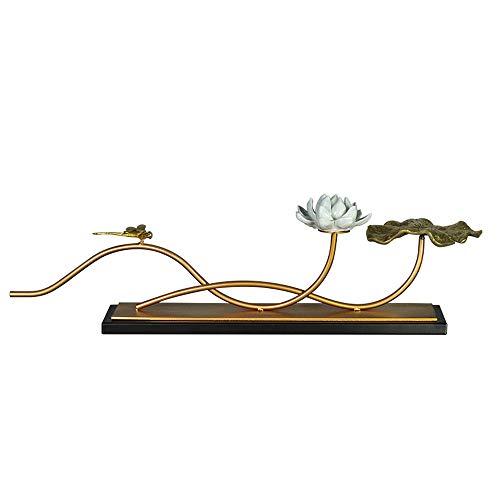 LXYFMS - Mueble para salón (Estilo Chino, Cobre, 9,5 x 18 x 60,5 cm), diseño de Hojas de Loto