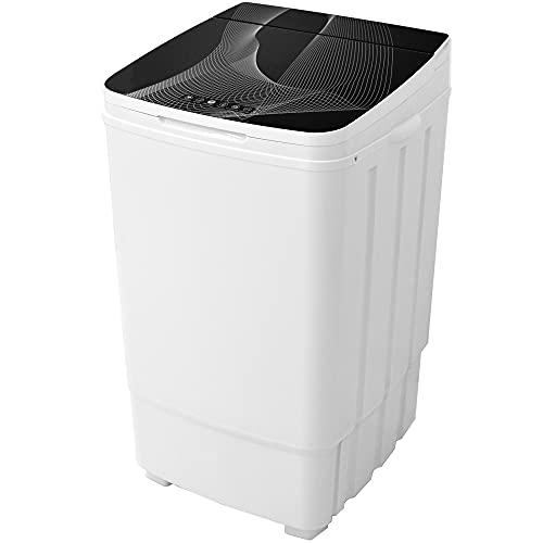 Syntrox Germany 9 Kg Waschmaschine Glas mit Pumpe und Schleuder Campingwaschmaschine Mini Waschmaschine Toplader 400watt weiß schwarz