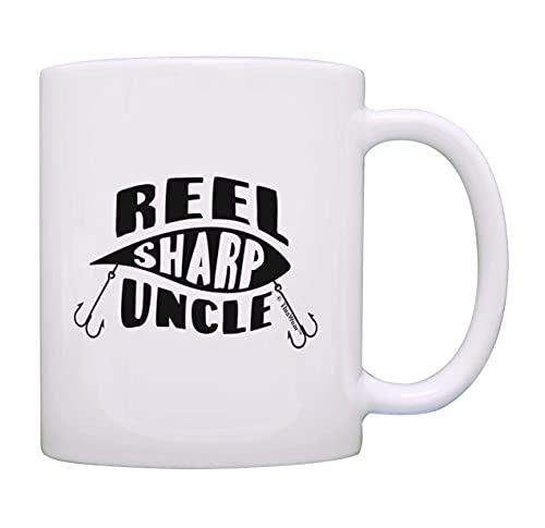 Taza para el mejor tío carrete de señuelo de pesca Sharp Uncle Pun paquete de 2 tazas de café de 11 oz Set de tazas de té tío