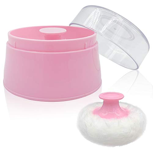 BPA Free Baby Powder Puff Box, Large 2.8' Fluffy Body After-Bath Powder Case, Baby Care Face/Body Villus Powder Puff Container, Makeup Cosmetic Talcum Powder Container with Hand Holder (Pink)