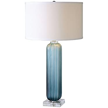 Uttermost 26193-1 Caudina Glass Lamp, Frosted Blue