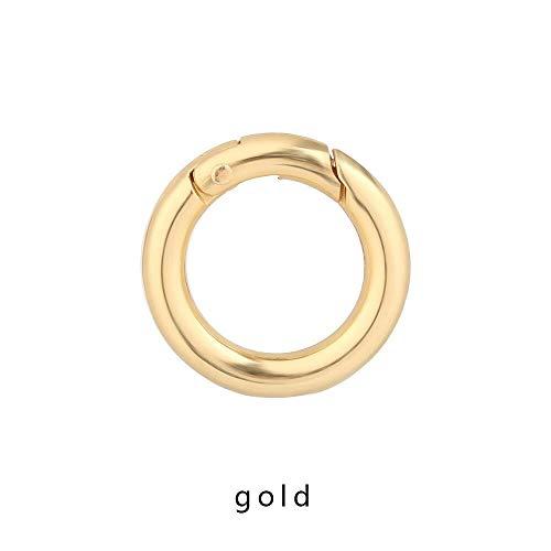 NO LOGO CCH-Spring 5pcs Tor Frühling O-Ring Schnallen Clips Karabiner Geldbeutel Handtasche Runde Push-Trigger-Karabinerhaken Karabiner for Beutel-Kleidung-Organisatoren (Color : Gold, Size : 35mm)