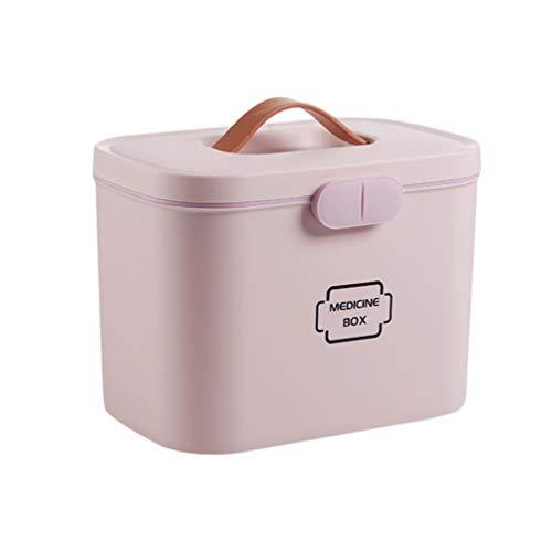 Yardwe Caixa de Medicina Kit De Emergência Família Caixa De Armazenamento Com Compartimentos Divididos para para O Carro Home Office (Rosa)
