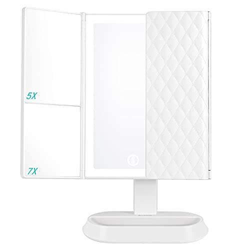 Auxmir Kosmetikspiegel mit LED Licht, 3 Lichtfarben und 5X/ 7X-Vergrößerungsspiegel, Schminkspiegel Beleuchtet mit Dimmbarer Helligkeit und Touchschalter für Schminken & Rasieren, Weiß