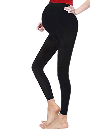 Crazy Chick Ladies Maternity Over Bump Stretchy Adjustable Full Ankle Length Leggings (20, Black)