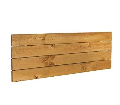 ✅ Madera maciza de pino de primera calidad. ✅ Estructura formada por 4 lamas de 9cm de ancho y seperadas por 0,3cm cada una. ✅ Grosor de 1,5cm, aumentando hasta 3cm con las barras transversales traseras que unen el cabecero. Altura total de 37cm. Caj...