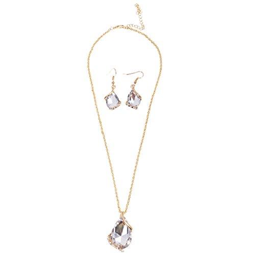 【ノーブランド 品】ファッション ティアドロップラインストーン クリスタル ネックレス  イヤリング 宝石類セット クリア