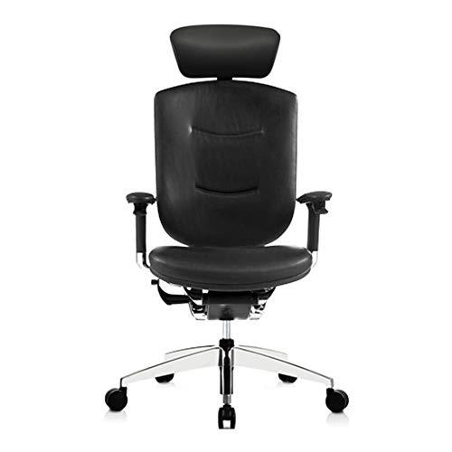 Silla de oficina ergonómica, silla de escritorio, silla de ordenador, piel ajustable, reposacabezas giratorio, reposabrazos elevable, patas de aleación de aluminio, aleación, negro, talla