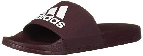 adidas Men's Adilette Shower Slides Sport Sandal, Maroon/White/Maroon, 13