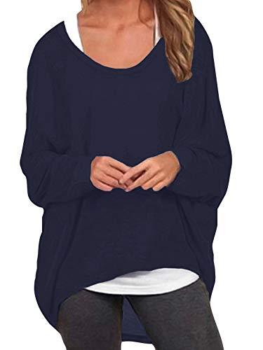ZANZEA Damen Lose Asymmetrisch Jumper Sweatshirt Pullover Bluse Oberteile Oversize Tops Marine EU 48/Etikettgröße 2XL