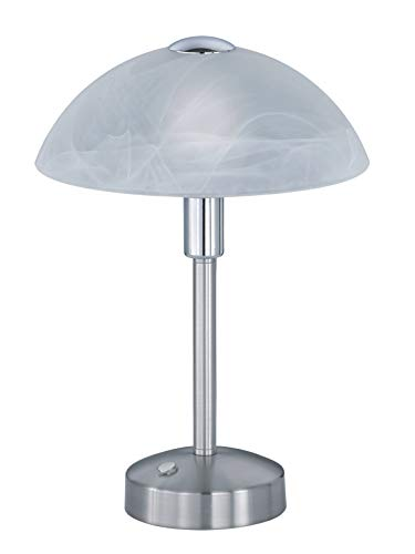 Trio Leuchten Donna 525790107 LED Tischleuchte, Glas alabasterfarbig weiß, Metall, 4 Watt, Nickel Matt, 4x fach Touch