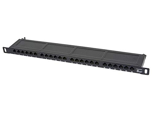 Monoprice Half-U UTP Cat6A Patch Panel 24 Ports - 19 Inch | Dual IDC, Horizontal 180 Degree - SpaceSaver