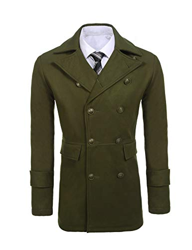 COOFANDY Mens Woolen Overcoat Double Breasted Long Length Notched Collar Trench Pea Coat Army Green