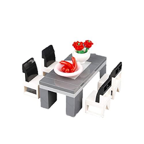 1set Modelo De Partículas Pequeñas Asamblea con Mesa Y Una Silla Figurita Accesorios Puzzle Inserte Juguete De Ciudad Local Vista De La Calle Negro para Regalo