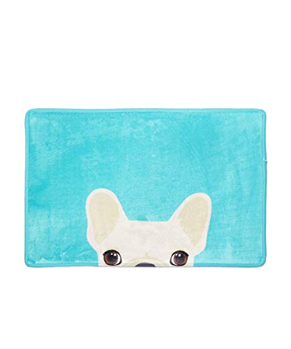 Nayo The Corgi - Anti-Slip Frenchie French Bulldog Home/Indoor/Bath Door Mat (Blue)