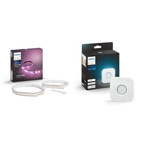 Philips Lighting Hue White And LightStrip Plus Striscia LED Smart, Dimmerabile, 16 Milioni Colori, Kit Base 2m + Estensione di 1m, Bianco + Hue Bridge 2.0, Centro di Controllo del Sistema Hue, Bianco