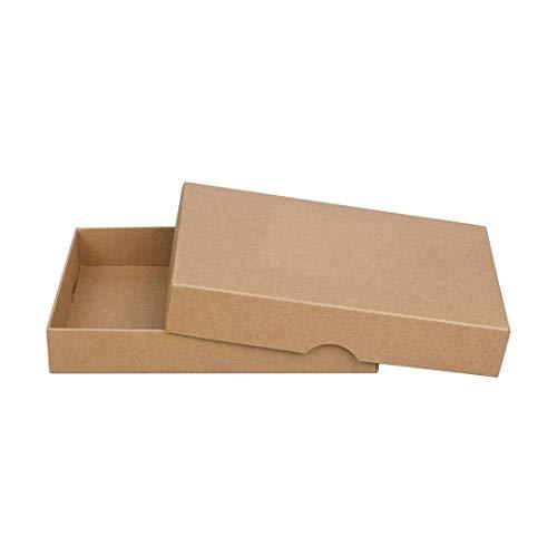 Braune Faltschachtel 11 x 15 cm, Füllhöhe 25 mm, mit Deckel, Kraftkarton, Kraftpapier, für Fotos und Geschenke - 10er Set