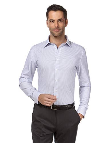 Vincenzo Boretti Herren-Hemd bügelfrei 100% Baumwolle Slim-fit tailliert Gemustert New-Kent Kragen - Männer lang-arm Hemden für Anzug Krawatte Business Freizeit weiß 41-42