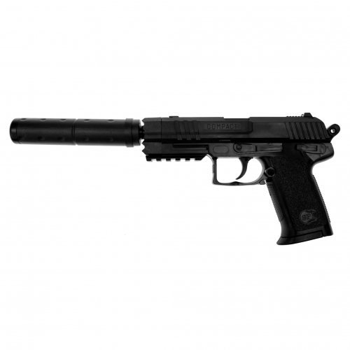 G8DS Set: Profi Softair Black-Beret mit Schalldämpfer Pistole Waffe 0,5 Joule ABSOLUT ZIELSICHER! 0,5 Joule 6mm Zielscheibe
