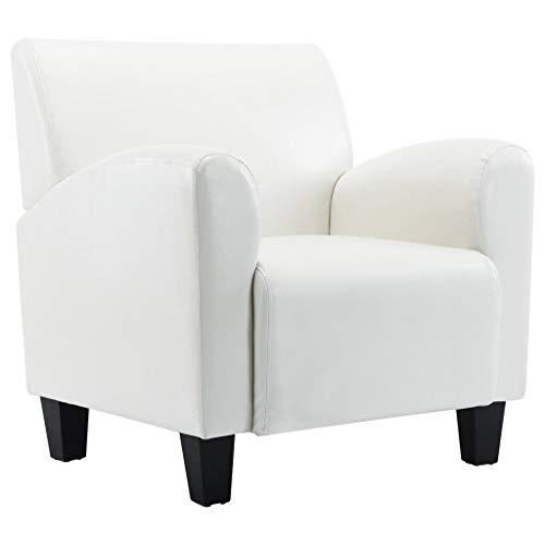 vidaXL Sessel Loungesessel Relaxsessel Polstersessel Armsessel Ruhesessel Ledersessel Stuhl Schlafzimmer Wohnzimmer Polster-Möbel Weiß Kunstleder