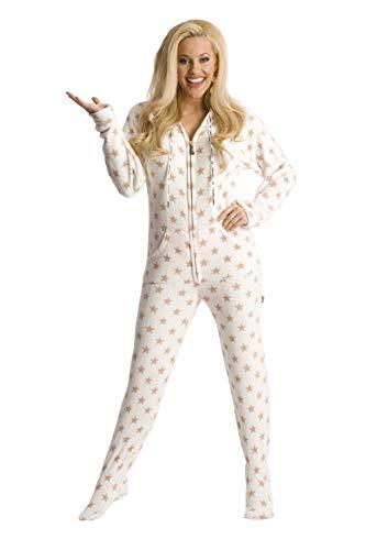 Gold Stars Chenille Hoodie Footed Onesie Pajama White