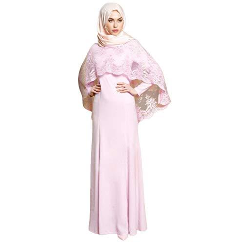 CICIYONER Damen Kleider Lace Schal Kaftan Abaya Langes Kleid Muslimische Islamische Patchwork Maxi Kleidung Rosa Grau S M L XL XXL