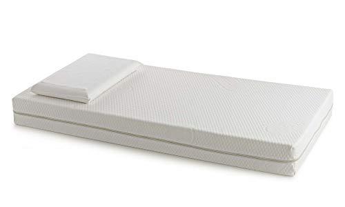 Talamo Matratze, Amicor Sanitized Stoff mit abnehmbarem Deckel, Waterfoam Platte, Memory-Foam-Kissen, Bianco, Singolo