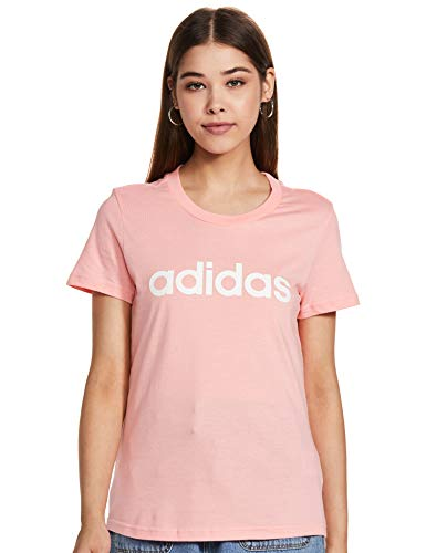 adidas Damen W E LIN Slim T T-Shirt, Rosglo/Blanco, S