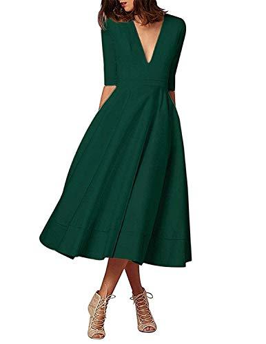 ShangSRS Donna Vestiti Lunghi da Matrimonio Elegante Collo V Vestito A Pieghe Skater Abito Maxi Damigella Sera Cerimonia (Verde, 3XL)